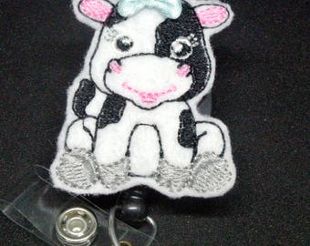Cow Felt Badge Reel | Nurse Badge Reel | Cow Paper Clip | Retractable Badge Reel | Nurse Badge Clip | Nurse Gift | Pediatric Nurse Badge