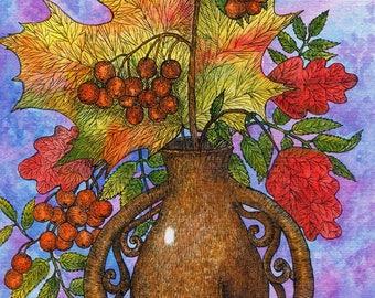 Print Autumn bouquet, Autumn bouquet, bouquet painting, bouquet print, still life painting, still life print, print for kitchen, watercolor