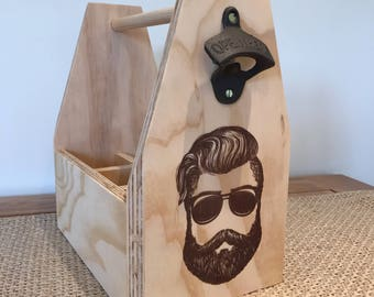"Wooden 'Beard"" Beer Caddy"