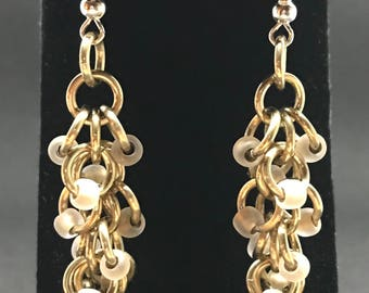 Frosted Gold Beaded Earrings