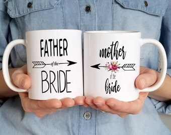 Mother father of the bride mug set, gift for mother of the bride, mother of the bride coffee mug, parents wedding thank you present