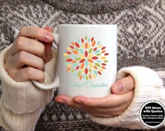 School Counselor Mug, School Counselor Gift, Counselor Appreciation Week, School Counselor Coffee Cup, Christmas Gift Idea, Purple Flower