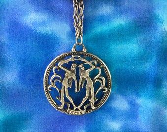 Vintage Gemini Pendant, Zodiac Necklace, Gemini Zodiac Pendant, Gemini (Twins) Horoscope, Gemini Charm Necklace, Gemini Astrology Sign