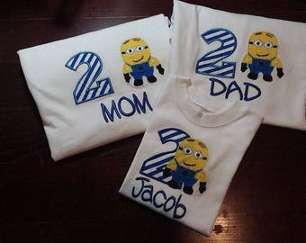 Personalized Birthday Embroidered Minion Shirt