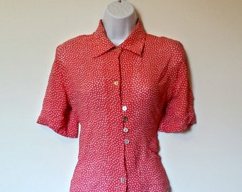 Vintage Pink Polka Dot Top 70s Sheer - Size M, Medium Med, Coral Red Buttons, Button Up, Gerry Weber Dots, Spots Collared Collar, White