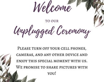 Unplugged Wedding Ceremony Sign (18x24)