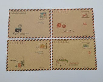 4 pcs envelopes, kraft envelopes