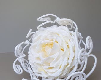flower girl, bridesmaid or small bridal bouquet, permanent made of white roses and white wool