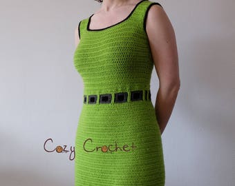 Crochet pdf pattern lime green gray black sleeveless woman's summer dress with textured squares and fitted shape / 3mm hook Apilou yarn