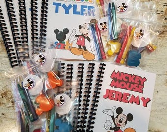 Sets of 10 Custom and Personalized Mickey Mouse coloring books with Mickey Mouse crayola crayons party favors, 1st Birthday, Clubhouse