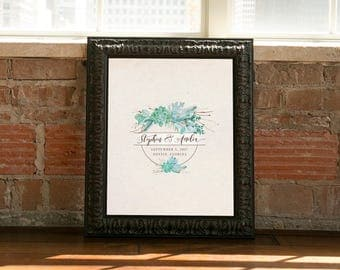 Wedding Guestbook Alternative- Have your guests sign this personalized print- Signature Board- Custom Wedding Art- Succulents