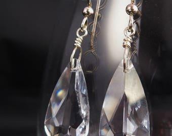 Swarovski Crystal Teardrop Earrings, Crystal Clear Earrings, Swarovski Crystal Chandelier, Clear Crystal Jewelry, Handmade, Sterling Silver