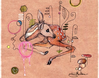 A New World - Beautiful Fawn Illustration 10x10 Ready to frame - girls room - Pretty