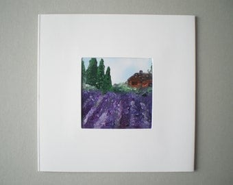 Lovely lavender, Original encaustic wax art greetings card