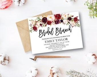 Bridal Brunch Invitation, Watercolor bridal invite, Floral Bridal Shower Card, Instant Digital Download File, Flower Bride DIY, Brunch, R10