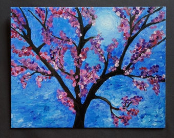Cherry Blossom Tree. Acrylic painting on canvas.