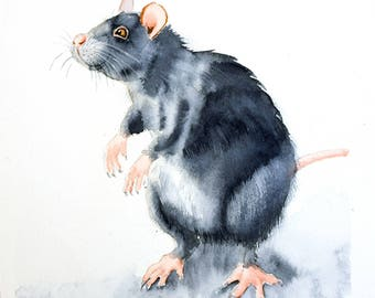 Watercolor mouse rat Art Print Watercolour Painting Animal gift Kids nursery wall decor Pet rat