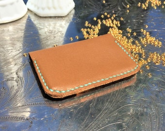 Leather 2 Slot Card Holder, Personalize and Customize Thread Color, Father's Day
