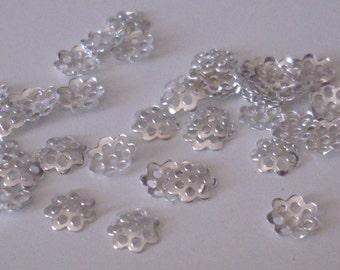 500 bead caps silver 6 mm - beads caps