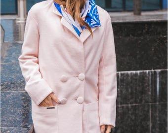 Strict coat Double-breasted coat Coat on buttons Coat with pocket Woman coat Pink coat A warm coat Winter coat Demi-season coat Wool coat