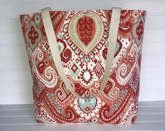 Handmade Everyday Tote | Market Bag |  Orange and Turquoise Paisley Tote