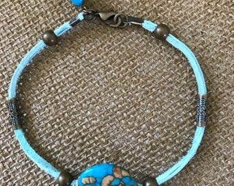 Suede & turquoise bracelet