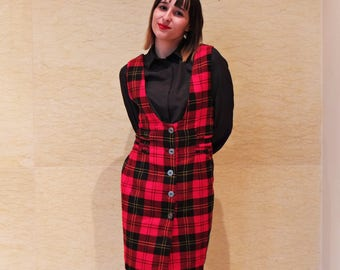 Vintage 80s Red plaid dress, Tartan dress, Mini tartan dress, wool dress, wool pinafore, grunge plaid dress, dungarees dress Size S - M