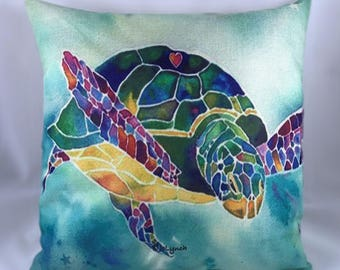 Sea Turtle Throw Pillow with Insert & w/Free Shipping