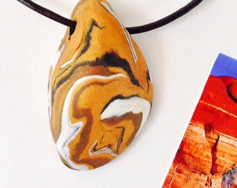 EARTH 30 Nature Elements Necklace Unique Handmade Artistic Pendant Stone Adjustable Leather Cord Perfect Gift for Her