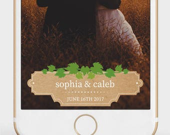 Rustic Wedding Snapchat Filter | Grapevine Wedding Geofilter | Vineyard Wedding Snapchat Filter | Custom Wedding Geofilter |