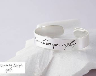 Handwriting Cuff Wide Band - Actual Handwritten Cuff - Handwriting Jewelry - Personalized Signature Bracelet - Open Cuff