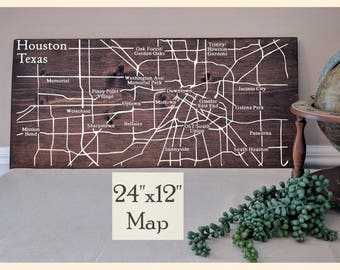 Houston Map, Large Wooden Map, Houston Map Wall Art, Houston Map Large, Wooden Street Map, Custom Painted Map, Address Map by Novel Maps