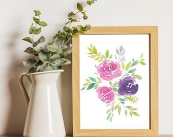 Botanical Print, Flowers Printable art, Flowers Watercolor Painting, Floral Art, Flowers Print, Hand Drawn, Fine Art, Home decor, Wall art
