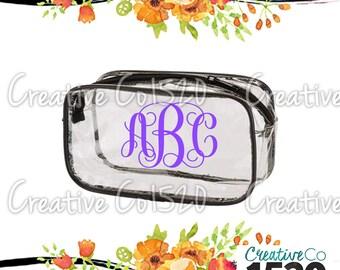 Vine Monogram Clear Makeup Bag | Custom Makeup Bag | Clear Makeup Bag Wedding | Bridesmaid Gift | Bridesmaid Gift Idea | Clear Clutch