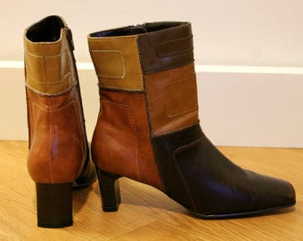 Vintage 90's does the 70's Vegan Leather Brown Patchwork J. Lo Boots US 8.5 EUR 39