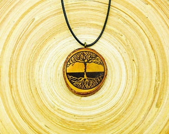 "Soul slices ""Tree of life 10"" wooden necklace vintage * Ethno * hippie * MUST have * statement * Boho *"