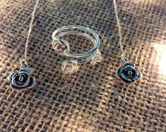 Roses Set, Ring & Earrings, Sterling Silver, Handmade.