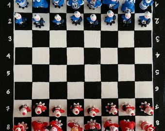 Chessboard made entirely by hand