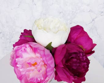 Pink White Peonies Bouquet Artificial Silk Flowers Loose Event Home Decor Wedding Bride Bridesmaid Gift Present Centrepiece Occasion Party