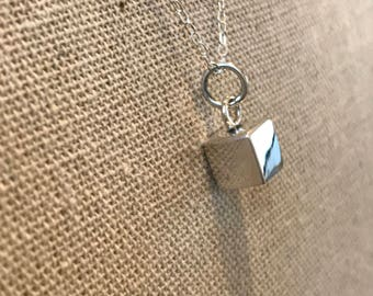 solid sterling silver cube, dainty necklace, cube charm personalized, bridesmaid gift, birthday gift, mothers day,