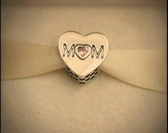 Authentic Pandora Mother Heart Pink CZ Mom Charm/New/Ale/s925