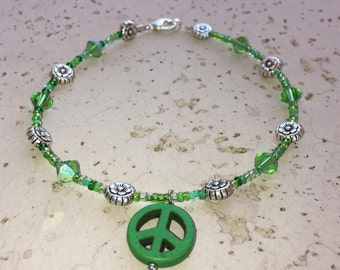 Green Peace Sign Anklet