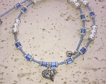 Dainty, Blue, White and Silver Filigree Heart Necklace