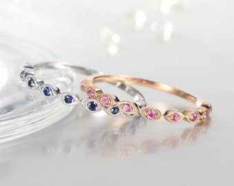 Wedding bands women Stacking ring vintage Art deco rose gold Ruby and Sapphire wedding ring set Half eternity band Dainty Bridal Promise