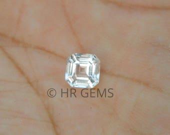 White topaz asscher cut gemstone, white topaz, asscher cut, gemstone