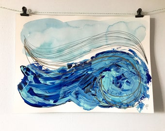 "Poster / illustration waves background-blue acrylic and watercolor on paper 14 ""x 10"""