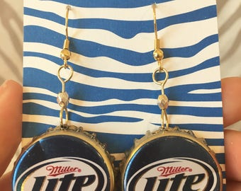 Recycled Bottle Cap Earrings- Miller Lite Beer