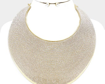 Gold Pave Rhinestone Wide Metal Armor Collar Necklace