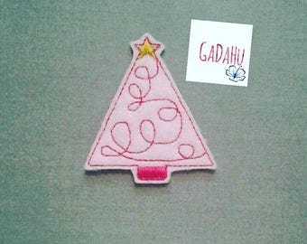 Pink Christmas Tree feltie. Embroidery Design 4x4 hoop Instant Download. Felties