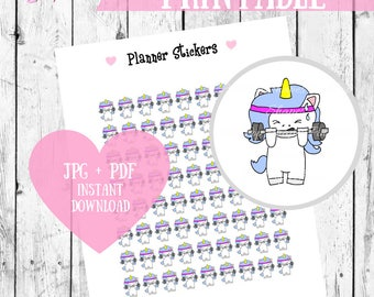 Exercise Stickers, Planner Printables, Unicorn Planner stickers, Fitness stickers, Workout stickers